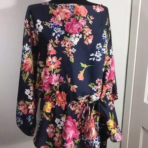 Chaps floral kimono rose roses blouse